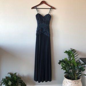 BCBG Navy Blue Strapless Gown